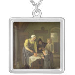 Peasant Family at Meal time, c.1665 Square Pendant Necklace