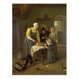 Peasant Family at Meal time, c.1665 Postcard