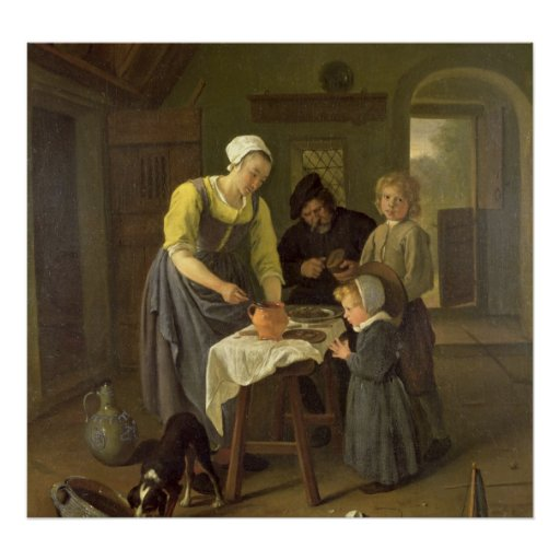 Peasant Family at Meal time, c.1665 Poster