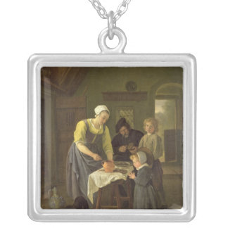 Peasant Family at Meal time, c.1665 Silver Plated Necklace