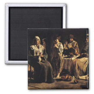 Peasant Family in an Interior, c.1643 2 Inch Square Magnet