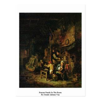 Peasant Family In The Room By Ostade Adriaen Van Postcard