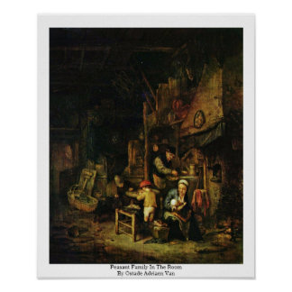 Peasant Family In The Room By Ostade Adriaen Van Print