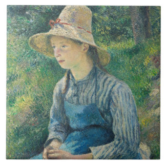 Peasant Girl with a Straw Hat, 1881 Ceramic Tile
