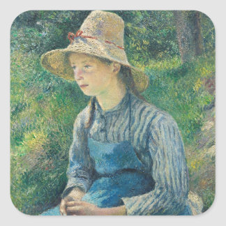 Peasant Girl with a Straw Hat, 1881 Square Sticker