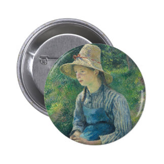 Peasant Girl with a Straw Hat by Camille Pissarro Pinback Button