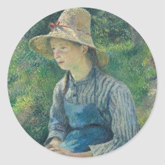 Peasant Girl with a Straw Hat by Camille Pissarro Classic Round Sticker