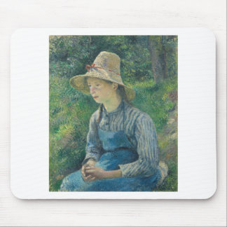 Peasant Girl with a Straw Hat by Camille Pissarro Mouse Pad