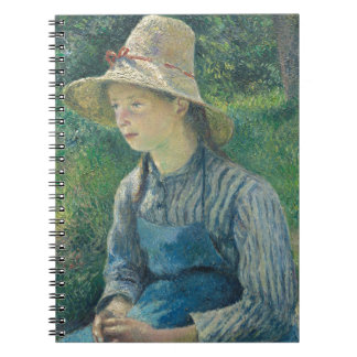 Peasant Girl with a Straw Hat by Camille Pissarro Spiral Note Book
