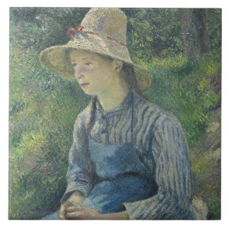 Peasant Girl with a Straw Hat Ceramic Tile