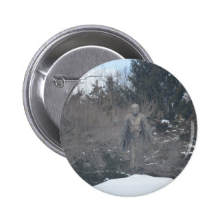 Peasant in the snow statue 2 inch round button