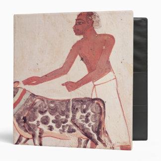 Peasant leading a cow to sacrifice binder