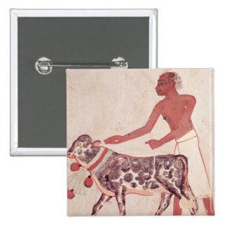 Peasant leading a cow to sacrifice button