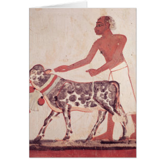 Peasant leading a cow to sacrifice greeting card