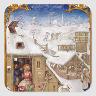 Peasant Life, from 'Breviarium Grimani' Square Sticker