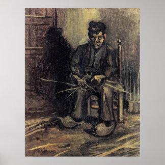Peasant Making a Basket by Vincent van Gogh Print