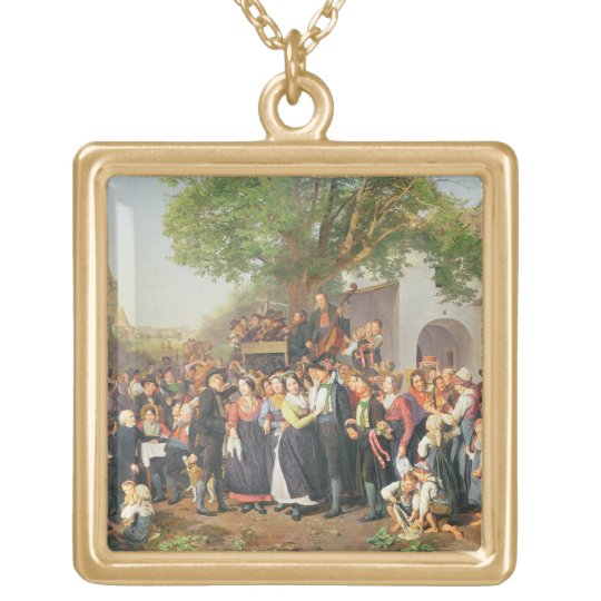 Peasant Wedding in Lower Austria (oil on canvas) Gold Plated Necklace