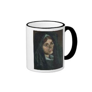 Peasant with moss green shawl c 1885 coffee mug