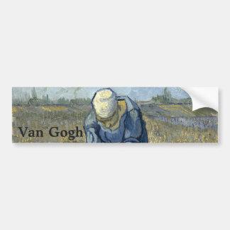Peasant Woman Binding Sheaves by Vincent Van Gogh Bumper Sticker