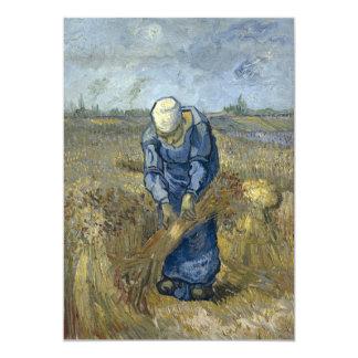 Peasant Woman Binding Sheaves by Vincent Van Gogh Card