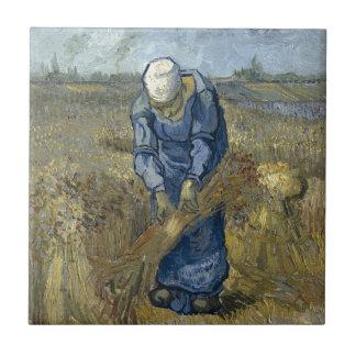 Peasant Woman Binding Sheaves by Vincent Van Gogh Ceramic Tile