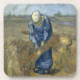Peasant Woman Binding Sheaves by Vincent Van Gogh Drink Coaster