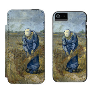 Peasant Woman Binding Sheaves by Vincent Van Gogh iPhone SE/5/5s Wallet Case