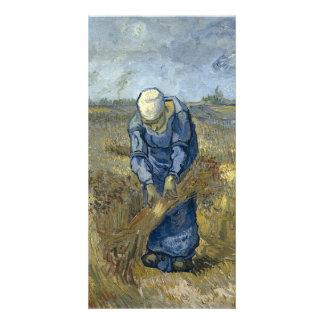 Peasant Woman Binding Sheaves by Vincent Van Gogh Photo Greeting Card