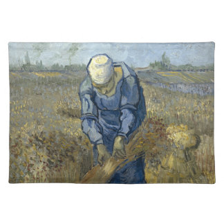 Peasant Woman Binding Sheaves by Vincent Van Gogh Cloth Placemat