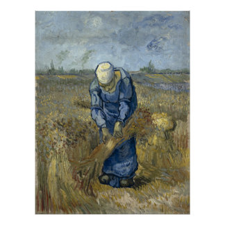 Peasant Woman Binding Sheaves by Vincent Van Gogh Poster