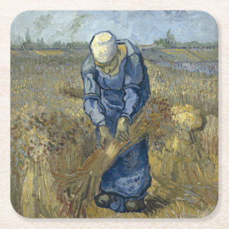 Peasant Woman Binding Sheaves by Vincent Van Gogh Square Paper Coaster