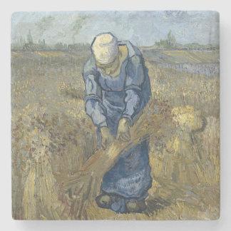 Peasant Woman Binding Sheaves by Vincent Van Gogh Stone Coaster