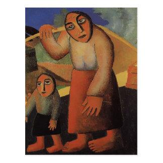 Peasant Woman,Buckets ,a Child by Kazimir Malevich Postcard