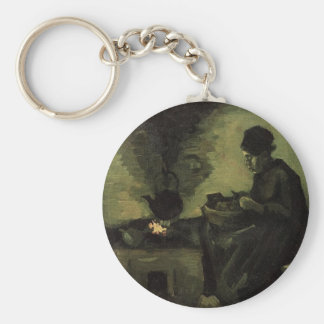 Peasant woman by the fireplace Vincent van Gogh Keychain