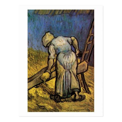Peasant Woman Cutting Straw Vincent van Gogh Postcard
