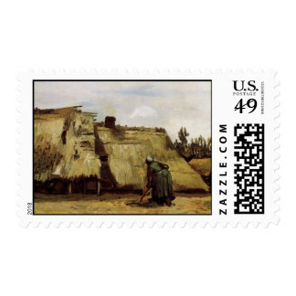 Peasant Woman Digging in Front of Her Cottage  Vin Postage