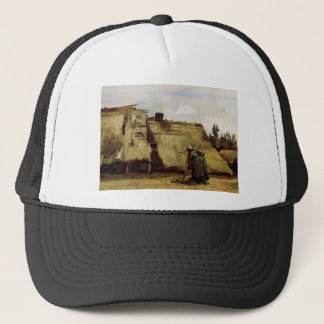 Peasant Woman Digging in Front of Her Cottage  Vin Trucker Hat
