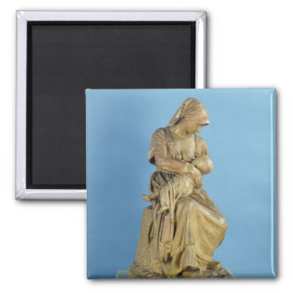 Peasant Woman Feeding her Child 2 Inch Square Magnet