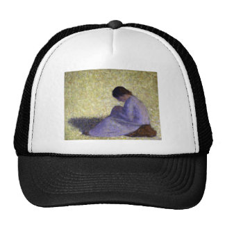 Peasant Woman Seated in the Grass by Seurat Hat