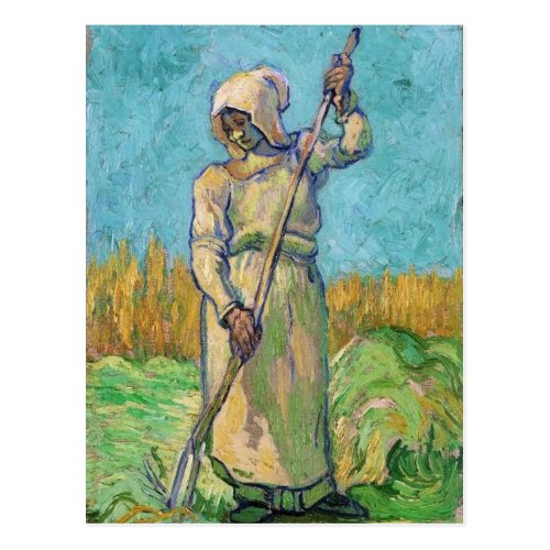 Peasant Woman with Rake Vincent van Gogh Fine Art Postcard