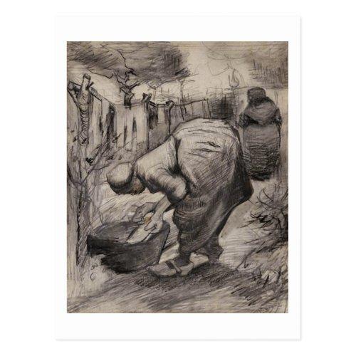 Peasant Women Washtub  Laundry Vincent van Gogh Postcard
