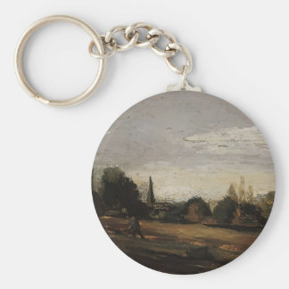 Peasant Working in the Fields by Camille Pissarro Keychains