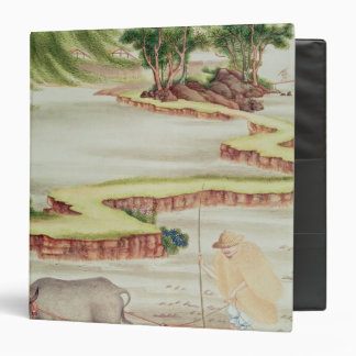 Peasant working in the paddy fields 3 ring binder
