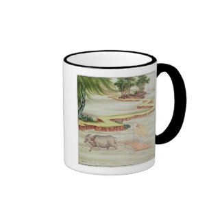 Peasant working in the paddy fields mug