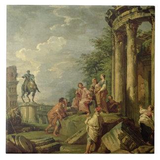 Peasants Amongst Roman Ruins, 1743 (oil on canvas) Ceramic Tile