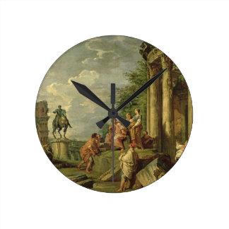 Peasants Amongst Roman Ruins, 1743 (oil on canvas) Round Clock