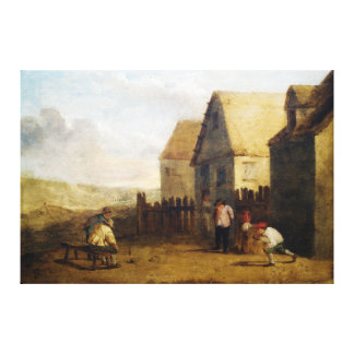 Peasants bowling in front of a tavern canvas print