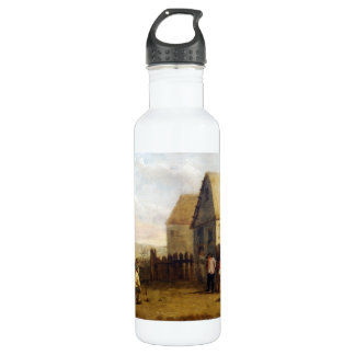 Peasants bowling in front of a tavern stainless steel water bottle