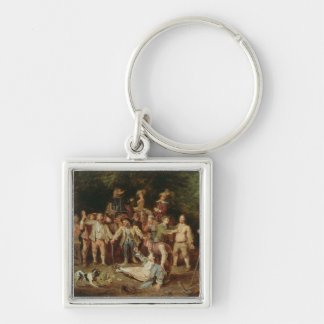 Peasants Brawling Outside a Tavern (oil on panel) Keychain