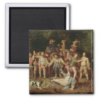 Peasants Brawling Outside a Tavern (oil on panel) Refrigerator Magnet